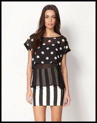 Camisa y falda en blanco y negro de Bershka 2013