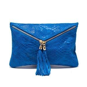 bolso de piel azul