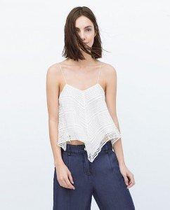 Camiseta top blanca de Zara